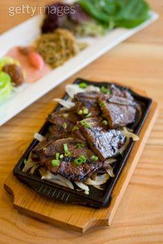 Korean BBQ beef ribs or galbi a traditional Korean dish