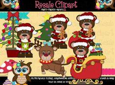 Santa Bears 13a 3 Clipart Digital ZIP File Download by MaddieZee, $2.50
