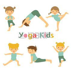 Un ejemplo de los ni os lindos de yoga Foto de archivo