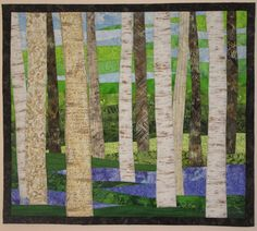 Art Quilt Birch with Wildflowers in Spring Wall Hanging