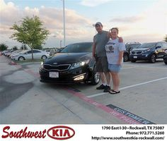 Happy Anniversary to David Lemon on your 2013 Kia Optima from Juan Cashat and everyone at Southwest KIA Rockwall!