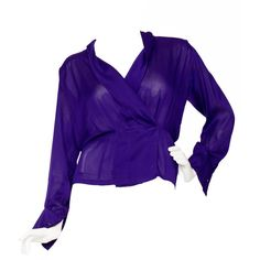 Preowned 1980s Yves Saint Laurent Haute Couture Silk Jersey Blouse ($1,102) ❤ liked on Polyvore featuring tops, blouses, multiple, purple top, purple blouse, fitted tops, silk jersey and 80s tops