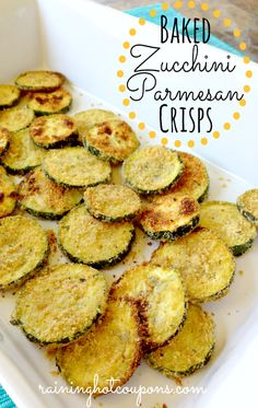 Baked Zucchini Parmesan Crisps. Good, but the breading did not really stay on. Next time, I would do a eggwash type breading instead of just oil. I used whole wheat breadcrumbs, but I think I would try panko next time.