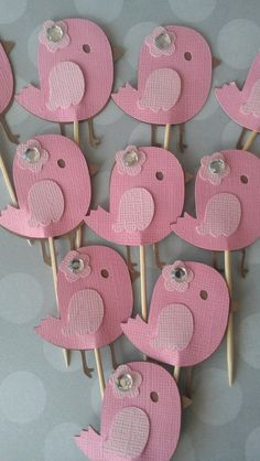 """Pink and Gray Bird Baby Shower Banner.  """"It's Twins"""" OR """"It's A Girl"""" banner. $32.00, via Etsy."""