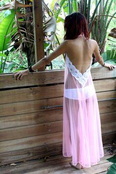 Backless Nightgown Halter Bubblegum Pink Sheer Nylon Full Swing Honeymoon Bridal Wedding Lingerie. $98.00, via Etsy.