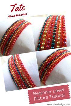 Tate Wrap Bracelet - Beginner Level Pattern, Picture Tutorial. www.nbnndesigns.com Wrap Bracelets, Knit Picks, Photo Tutorial, Anklets, Pearls, Knitting, Crochet, Pattern, Gifts