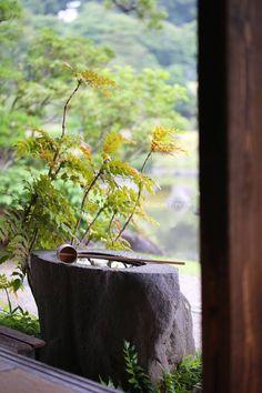 手水鉢、水前寺成趣園、熊本 Washbasin, Suizenji Jojuen, Kumamoto