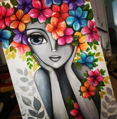 Indian Art Paintings, Colorful Paintings, Canvas Painting Tutorials, Diy Painting, Dark Art Drawings, Madhubani Painting, Spring Painting, Whimsical Art, Cute Art