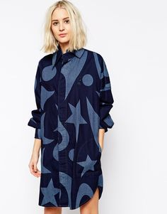 The print and fit of this Vivienne Westwood Anglomania Jeans Drape Front Denim Shirt Dress is so me!