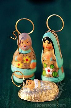 Nativity scene, Mexican pottery I love these little folk art pottery Nativities.