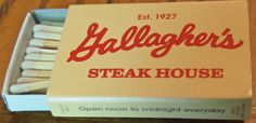 Gallagher's Steak House #matchbox To order your business' own branded #matchboxes call TheMatchGroup @ 800.605.7331 or go to www.GetMatches.com today!