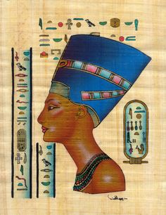 Egyptian Art Papyrus Painting - Nefertiti    Famed throughout the ancient world for her outstanding beauty, queen Nefertiti remains one of the most well known of the queens of Egypt. Nefertiti was the Wife of Akhenaten during the Eighteenth Dynasty. She bore Akhenaten 6 daughters and no sons, and shared a near co-rulership with the king. Fifteen years after her appointment to the position of Queen of Memphis, Nefertiti mysteriously disappeared.