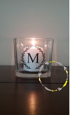 Simple, elegant Wreath and Initial Glass Votive Candle Holder by IronLilyDesigns