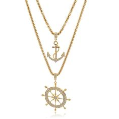 New Fashion Gold Filled Anchor Wheel Pendants Layered Long Women Necklace Gift #Longway #Pendant