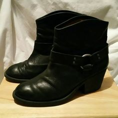 Lucky brand boho black leather ankle boots Super comfy black leather ankle boots,  adorable worn with just about anything from a babydoll dress to skinnies, sole on outside of left boot is starting to open, not noticeable and I really have to pull to try to get a good pic, does not affect wearability and could easily be fixed with shoe goop Lucky Brand Shoes Ankle Boots & Booties