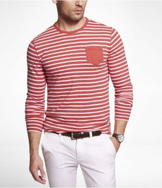 Express Mens Slub Striped Long Sleeve Crew Neck Pocket Tee Nantucket Coral, X Large