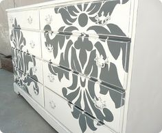 damask dresser stencil- such a great idea to give that old furniture a beautiful make over!!