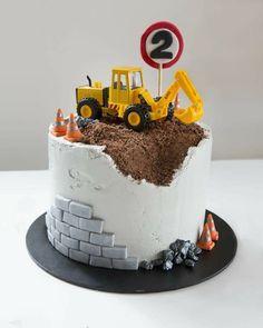 Truck Birthday Cakes, Truck Cakes, 2nd Birthday Cakes For Boys, Fondant Birthday Cakes, Digger Birthday Cake, Buttercream Birthday Cake, Construction Party Cakes, Construction Birthday Parties, Construction Theme