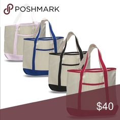 2825a6e430 (4 PACK) Extra Large Heavy Duty Canvas Tote Bags ASSORTED COLORS! SIZE