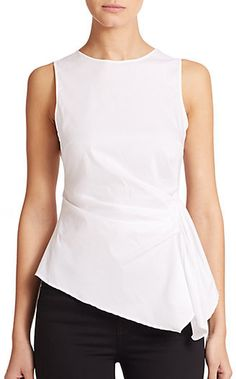 Bailey 44 Trevi Ruched Sleeveless Top in White Court Outfit, Asymmetrical Tops, Couture Tops, Work Attire, White Tops, Chic Outfits, Bailey 44, Clothes For Women, My Style