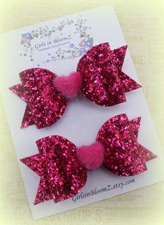 Pink heart hair bows/Girls Valentine's Day hair bows/Set of 2 hair clip/Pigtail hair clips/Toddler pink hair bows/Pink glitter hair bows Baby Girl Bows, Girls Bows, Baby Girls, Baby Hair Clips, Flower Hair Clips, Girls Hair Clips, Glitter Hair, Pink Glitter, Glitter Fabric