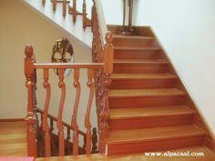 escalera de obra revestida en madera con zanqun a cartabn http