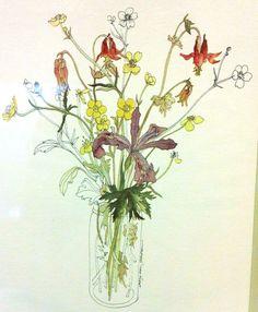 14.95 Mary Lou Goertzen Prints Floral Bouquet Daffodils Framed Spring Wall Art Vtg #MaryLouGoertzen #FloralPrints #Flowers #Bouquet