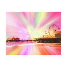 50% Off Canvas Prints! #zazzle #coupon Code: GRANDPARENTS Santa Monica Pier Pink Explosion Gallery Wrap Canvas