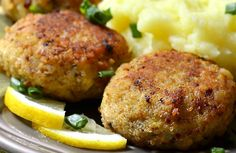Chicken Croquettes - Use an ice cream scoop to shape the chicken mix /*Great on top of a salad or just dip in ranch / Or use 2 cans of chicken, 2 cloves garlic, few shakes chicken seasoning, oil spray and saute until crispy. Also add 2 Tbs ground flaxseed to the mix.