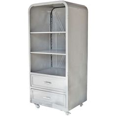 1950's steel refrigerator re-purposed as a cabinet .. Now, I really like this idea!