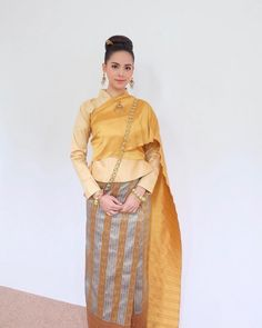 Traditional Dresses Designs, Thai Traditional Dress, Kebaya Dress, Thai Dress, Thai Style, Vogue Fashion, Silk Dress, My Girl, Designer Dresses