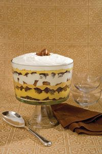 Peanut butter brownie trifle.  Has brownies, Reese's Cups, peanut butter pudding layers, a fudge like peanut butter layer, sour cream, and homemade cool whip on top.