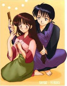 Sango And Miroku Brushing Hair