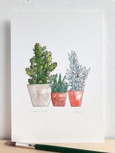 Cactus print. Succulent art print. Cacti and by AnnasDrawingRoom