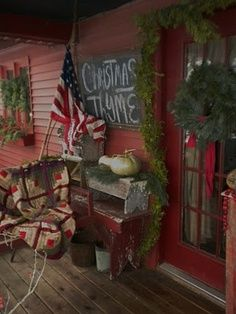 prim christmas porch | Primitive Christmas