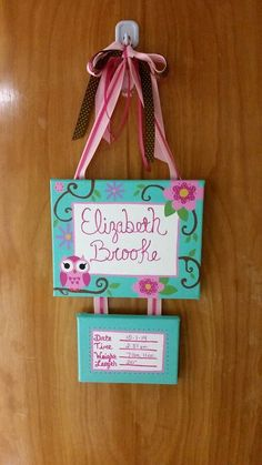 Custom Painted  Made with an 8x10 and a 5x7 canvas with matching ribbons for hanging.  Perfect for the hospital door then the babys room at