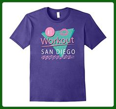 Mens 80s Style San Diego Gym Exercise Workout Colorful T Shirt Medium Purple - Workout shirts (*Amazon Partner-Link)