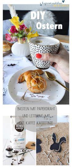 Osterdekoration mit Papierdraht und Lettering mit der IDEE TINTE. Die Kaffeetinte verströmt herrlichen Kaffeeduft! Diy Ostern, Lettering, Blog, Dyes, Drawing Letters, Blogging, Brush Lettering