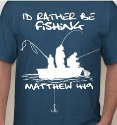 Based on Matthew 4:19, this 100% cotton indigo blue shirt depicts two men casting their nets for average fish, and one man whos doing some serious soul catching! Perfect for your grandpa, husband, uncle, boyfriend, brother or dad!