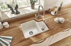 Fitted Kitchens Lamona Ceramic Bowl Undermount Sink with Lamona Chrome Victorian Swan Neck Monobloc Tap Shaker Style Kitchens, Shaker Kitchen, New Kitchen, Home Kitchens, Fitted Kitchens, White Kitchen Sink, Kitchen Ideas, Kitchen Decor, Howdens Kitchens