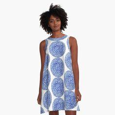 """""""Blue Bloom """" A-Line Dress by YollieBeeArt   Redbubble"""