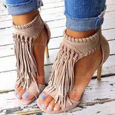 [53.96 €] Femmes Suède Talon stiletto Sandales avec Zip Tassel chaussures