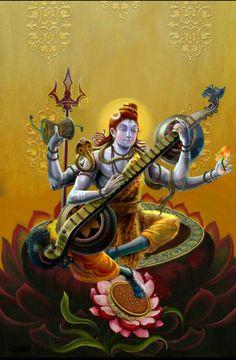 Lord Shiva Playing The Veenai Musical Instrument - Om Namah Shivaya - Digital Artwork. Shiva Art, Shiva Shakti, Krishna Art, Hindu Art, Kali Hindu, Rudra Shiva, Ganesha Art, Lord Shiva Family, Lord Vishnu Wallpapers