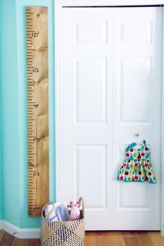 ruler nursery growth chart, very simple and homemade looking