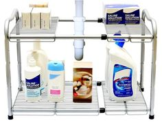 Create additional space under your sink with adjustable shelving.