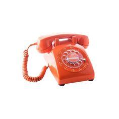 Vintage Rotary Desk Phone in Orange found on Polyvore