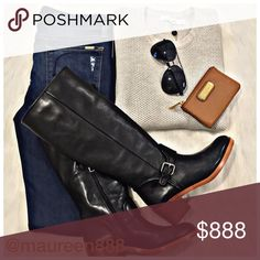 """FLASH SALE! Coach Cecelia Boot [black/tan] Coach Cecelia Boot in smooth, black leather with a 1.75"""" heel in brown and a shaft height of 16.25."""" The circumference at opening is too large for me, at 14.25."""" These are fantastic and a look I always love, but can never pull off due to my lack of height and nonexistent calves. Brand NIB. This is my lowest. No offers. Thank you! MBMJ Pouch comes free with purchase of boots; otherwise, for sale, not free. Coach Shoes"""