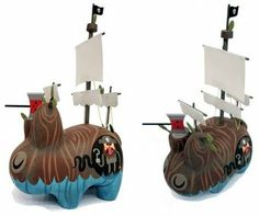Hand Painted Custom Pirate Ship Wood Labbit by Amanda Visell
