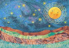 Orie's scenery art. #絵本 #空 #イラスト #星 Night Skies, Illustration, Artwork, Painting, Work Of Art, Auguste Rodin Artwork, Painting Art, Artworks, Paintings
