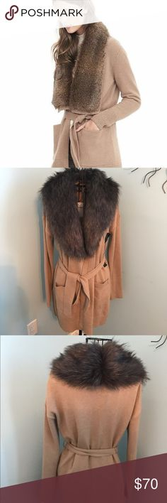 Faux fur sweater Brand new with the tag, gorgeous and elegant. Banana Republic Jackets & Coats